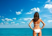 Woman in White Bikini at the Sea. Rear View.