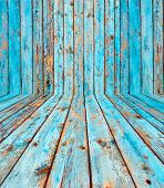 Shabby Blue Wooden Room as Background
