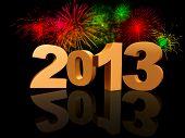 2013 Dourado com fogos de artifício