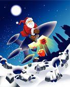 Millennium Santa On A Space Rocket
