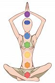 image of kundalini  - Woman silhouette in yoga position with the symbols of seven chakras - JPG