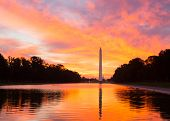 Brilliant Sunrise Over Reflecting Pool Dc