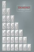 Illustration of white set for a game of dominoes