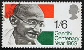 Postage stamp Great Britain 1969 Mahatma Gandhi