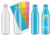 Four plastic bottles with color palette and labels