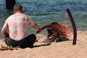 Brisbane, Australia - September 16 : Unidentified Aboriginal Man Conducting Fire Ceremony As Part Of