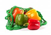 Fresh  Sweet Peppers In A Green String Bag