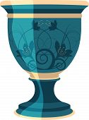 Lindo vaso azul floral flores, ilustração vetorial