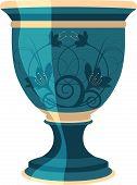Beautiful floral blue vase for flowers, vector illustration