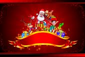 santa claus with gifts and elves on red background
