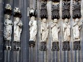 image of koln  - Ancient medieval statues at Koelner Dom  - JPG