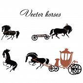 stock photo of hackney  - Four black horses in the vector format - JPG
