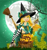 Witch with a book and broom sitting on a Halloween background