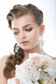Pretty Gentle Fashion Fiancee With Flowers In Studio