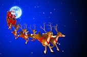 santa coming towards earth from moon with his sleigh