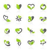 stock photo of environment-friendly  - Eco themed design elements in shape of heart - JPG