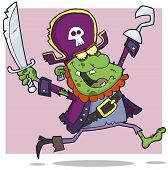 Pirate Zombie Cartoon Character