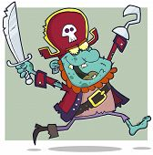 Blye Pirate Zombie With A Cutlass