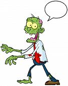 Cartoon Zombie Walking With Hands In Front