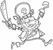 Outlined Pirate Zombie