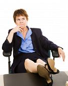 Businesswoman At Desk - Worried