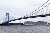 Norwegian Breakaway Cruise Ship under Verrazano bridge