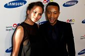 NEW YORK-MAY 29: Model Chrissy Teigen and singer John Legend attend the Samsung Hope for Children ga