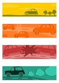 Set Of Half Banners With Retro Cars.