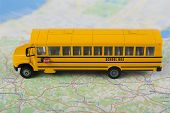 School bus and road map.