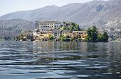 View Of San Giulio Island On Lake Orta In Italy