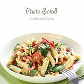 Pasta salad with spinach, capsicum, feta cheese and parmesan.