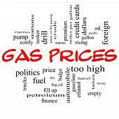 Precios de gas nube palabra concepto en gorras rojas