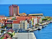 image of curacao  - Colorful architecture on the waterfront of Williamstad - JPG