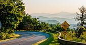 picture of appalachian  - Blue Ridge Parkway Scenic Landscape Appalachian Mountains Ridges Sunrise Layers over Great Smoky Mountains - JPG