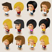 pic of midget  - People Women Isometric Set - JPG