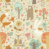 Vintage floral seamless pattern with forest animals: bear, fox, owl, rabbit. Vector background with