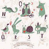 Cute zoo alphabet in vector. N, o, p, q, r, s, t letters. Funny animals in love. Numbat, owl, pig, q