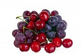 Cherries And Grape Isolated On White Background