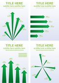 Infographic charts with arrows. Sample spaces provided to insert your own text and values