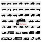 stock photo of transportation icons  - Cars Icon Set - JPG