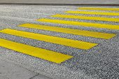 picture of zebra crossing  - pedestrian crossing in yellow at the street - JPG