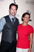 LOS ANGELES - JUN 13:  Michael Muhney, Melissa Claire Egan arrives at the Daytime Emmy Nominees Rece