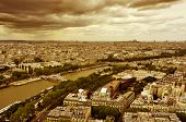 aerial view of the City of Light, Paris, France, crossed by the Seine river and with the Sacre Coeur