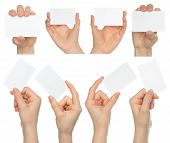 Hands hold business cards collage
