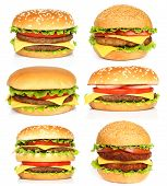 stock photo of hamburger  - Big hamburgers on a white background close - JPG