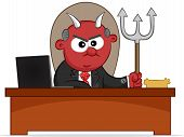 stock photo of sneaky  - Cartoon boss man as an evil devil with pitchfork - JPG