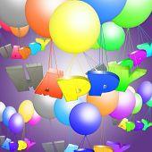 Prentenalbums, prentenboeken kinderen met vliegende bouncy gekleurde ballen