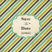 Striped wedding invitation card with frame, date and heart