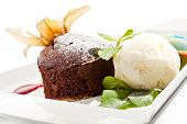 Dessert - Chocolate Cake with Berries Sauce and Ice Cream