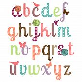 image of cursive  - Girly Alphabet Vector Set  - JPG